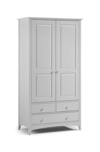 Julian Bowen Cameo Grey 2-Door 1-Drawer Wardrobe
