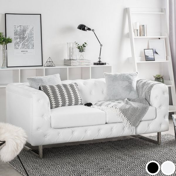 Viland Faux Leather Sofa with 2 Seater - Black or White