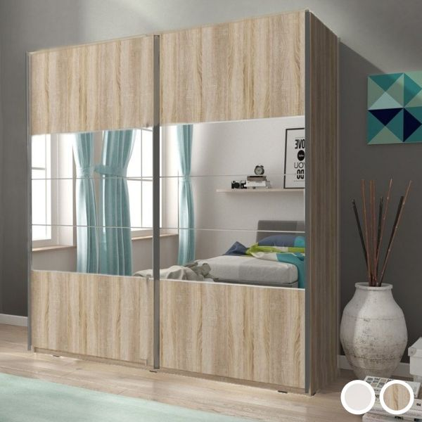 Merlin-I Mirrored 2-Door Sliding Wardrobe - White or Sonoma Oak