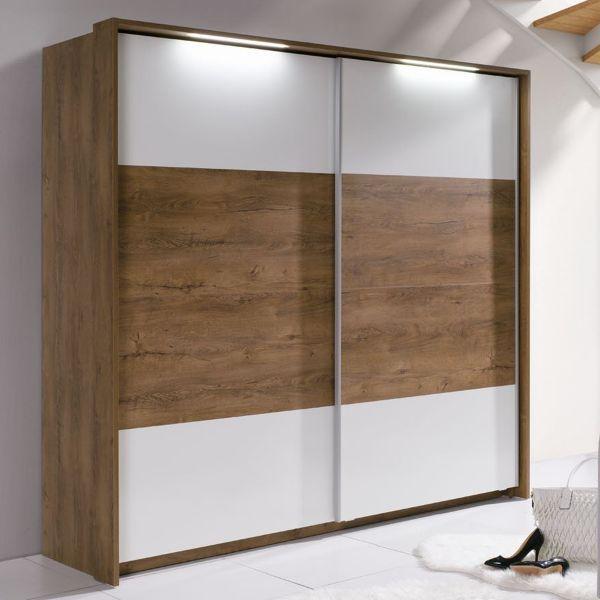 Lenora 2-Door Sliding Wardrobe 230cm - Burgundy Oak & White