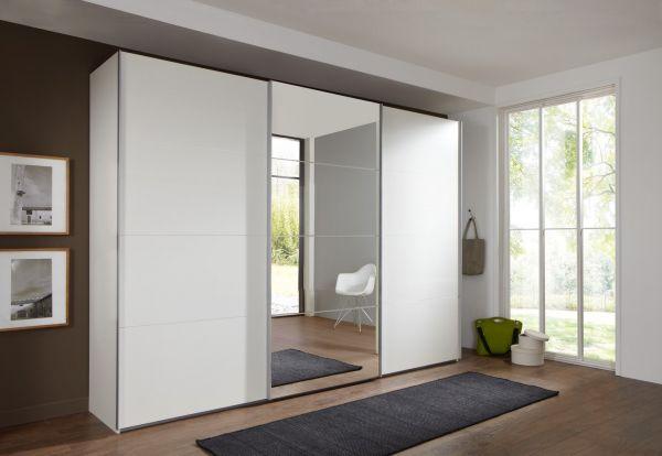 Ernie 3-Door Mirrored Sliding Wardrobe - White