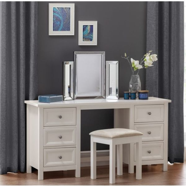 Julian Bowen Maine 6-Drawer Dressing Table - White or Grey