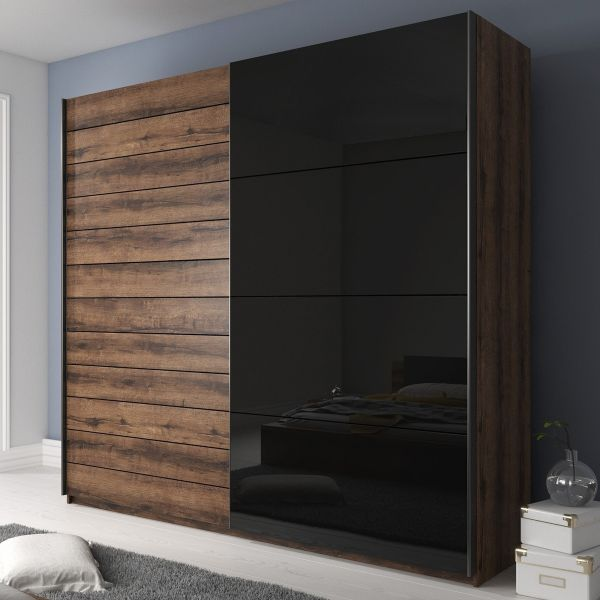 Galaxy Oak & Black Glass 2-Door Sliding Wardrobe - 3 Sizes