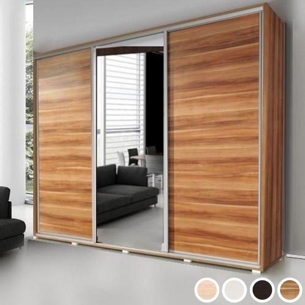 Prudence-III 3-Door Mirrored Sliding Wardrobe 255cm - Wenge, White, Oak or Plum Wallis