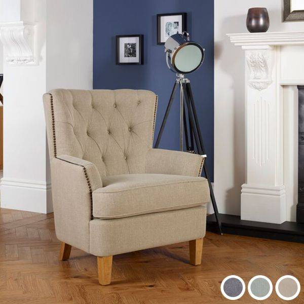 Selkirk Fabric Chesterfield Armchair - Duckegg, Mink or Grey