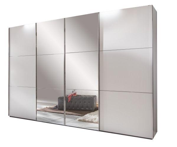 Escape 4-Door 300cm Sliding Mirrored Wardrobe - White