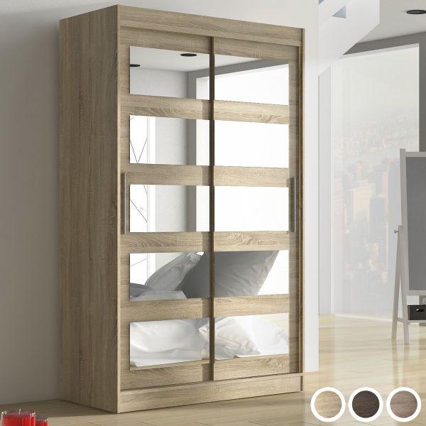 Salvo 2-Door Mirrored Sliding Wardrobe 120cm - Brown, Truffle Oak or Sonoma Oak