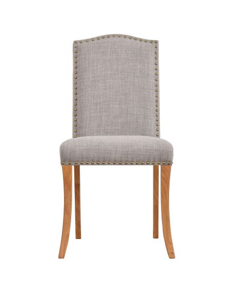 LPD Evesham Studded Dining Chairs Pair - Beige or Light Grey