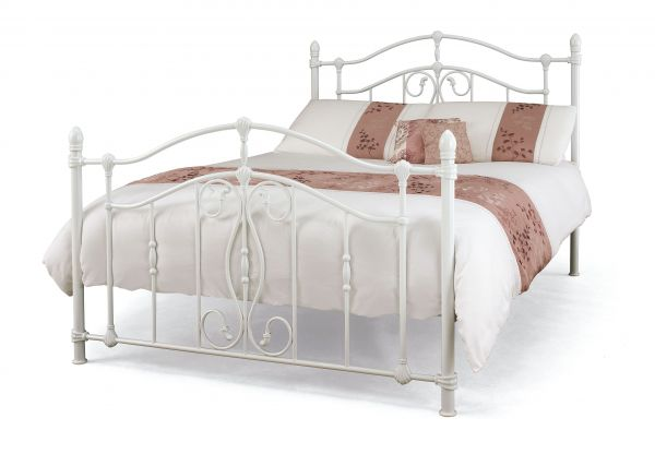 Nice Ornate White Metal Bed - Double or King