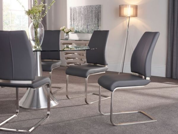 Alicante Modern Leather Dining Chair x 2 - Black, Grey or Taupe