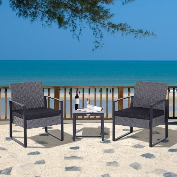 Outsunny 3PC Rattan Bistro Dining Set - Black or Grey