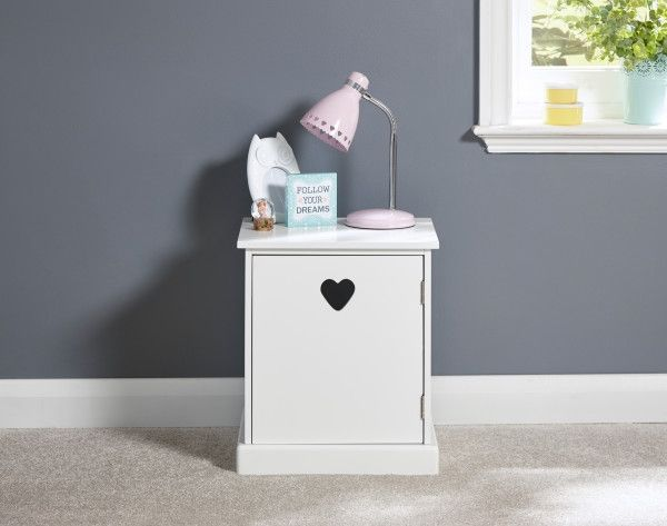 Love Hearts 1 Door Bedside Table - White