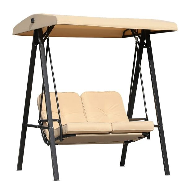 Outsunny 2-Seater Swing Chair Hammock Cushioned Bench Seat - Beige / Black