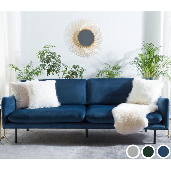 Vinter 3-Seat Velvet Sofa - Grey, Blue or Green