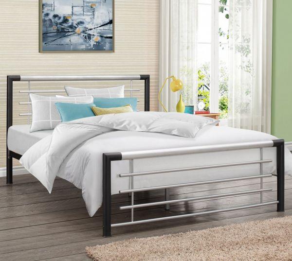 Birlea Faro Black & Silver Metal Bed Frame