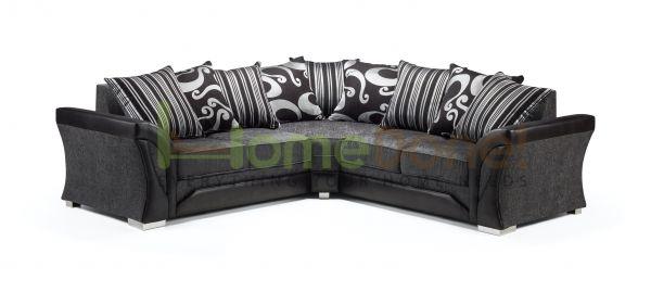 Ferol Fabric Larger Corner Sofa - Black/Grey