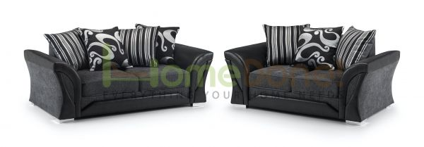 Ferol Fabric Room Set with 2 and 3 Seater - Black/Grey