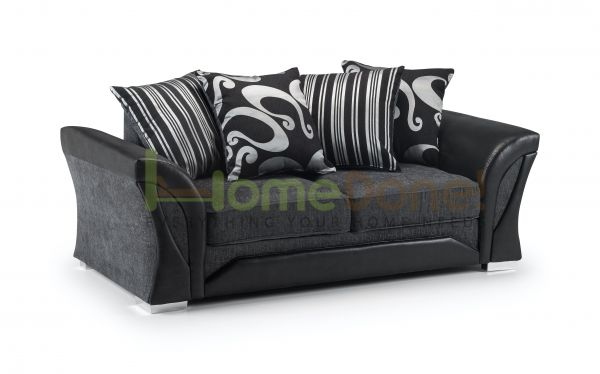 Ferol Fabric Sofa with 3 Seater - Black/Grey