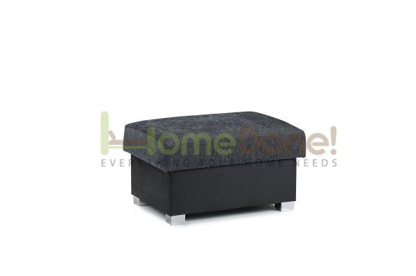 Ferol Fabric Footstool - Black/Grey
