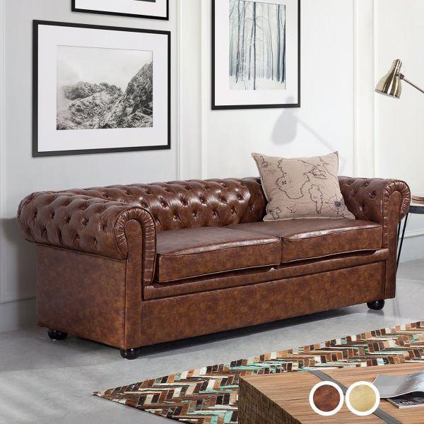 Chesterfield Faux Leather Sofa with 3 Seater - 2 Colours