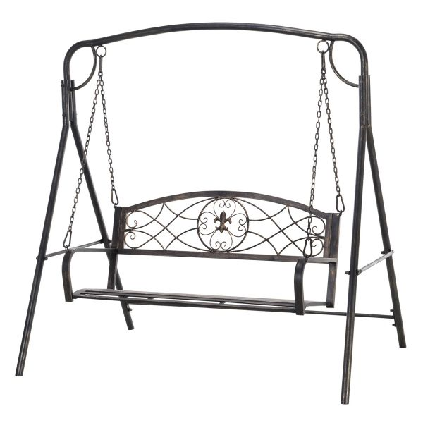 Outsunny Steel 2-Seater Outdoor Garden Swing Chair - Bronze