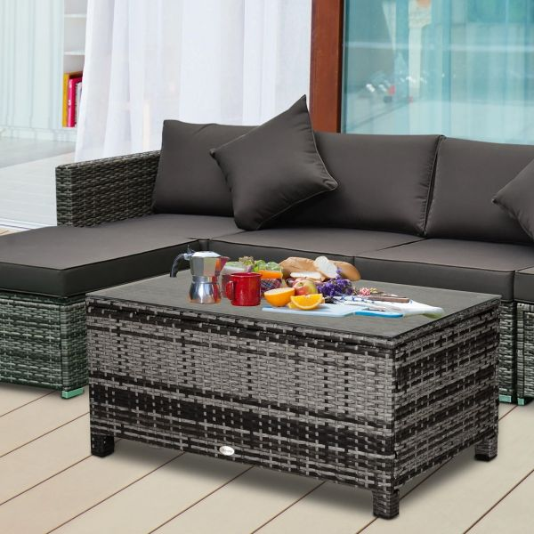 Outsunny PE Rattan Garden Coffee Table with Tempered Glass Top - Grey