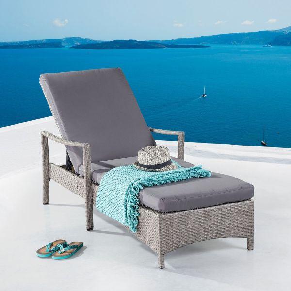 Vesta Adjustable Wicker Lounge Chair - White, Grey or Antique