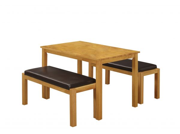 LPD Fenton Rubberwood Dining Table & Bench Set
