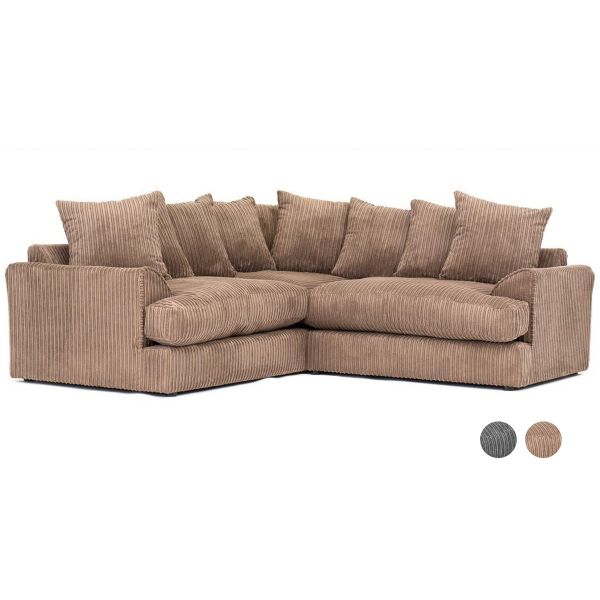 Fergi Jumbo Cord Corner Sofa Suite - Brown