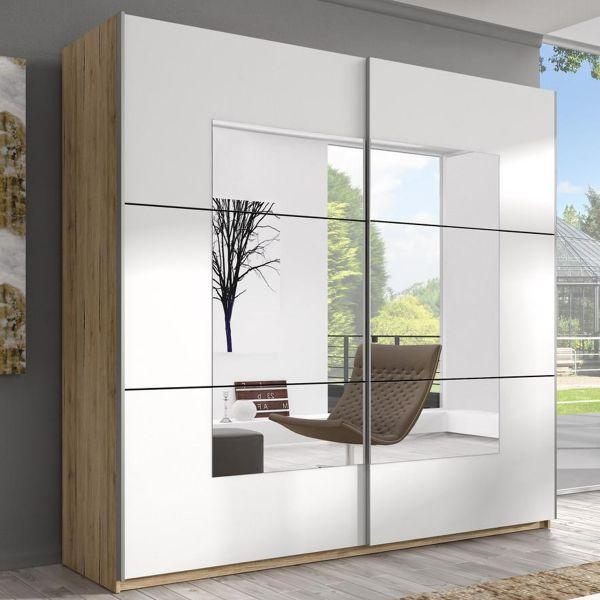 Baldo-I 2-Door Mirrored Sliding Wardrobe - San Remo Oak & White