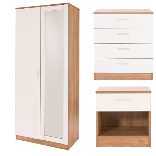 Ottawa 3PC 2-Door Mirrored Wardrobe, 4-Drawer Chest & Bedside Set  - 4 Colours