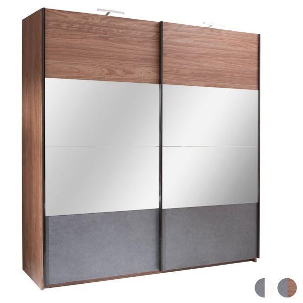 Rafa 2-Door Mirrored Sliding Wardrobe - White or Walnut