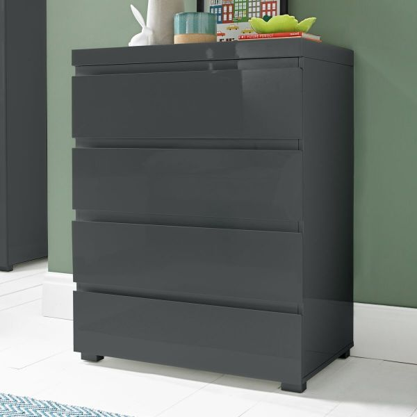LPD Puro 4 Drawer High Gloss Storage Chest - Charcoal
