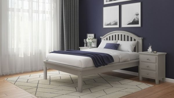 Justin Grey Rubberwood Bed - Single, Double or King