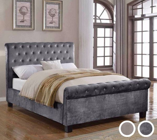 Lola Buttoned Fabric Sleigh Bed - Mink or Silver