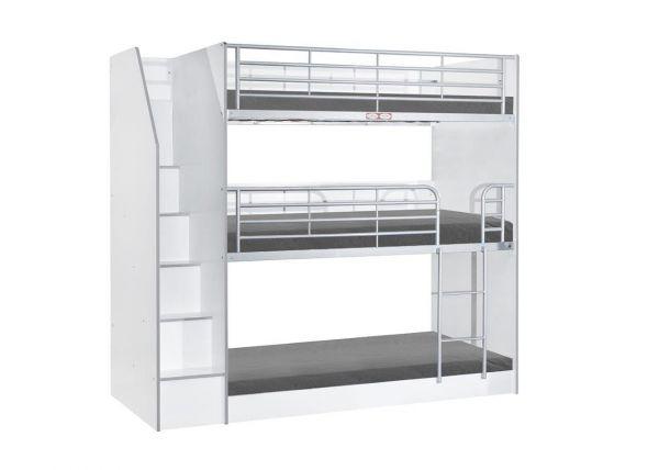 Noah Silver Metal Triple Bunk Bed