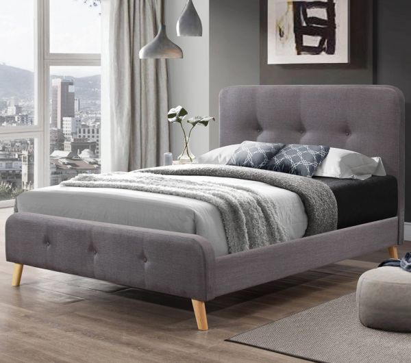 Nordic Grey Fabric Bed - Double or King