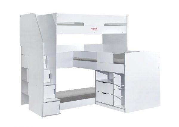 Oscar Triple Storage Bunk Bed - White