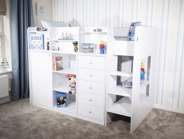 Wizard Junior White High Sleeper Storage Station Bed