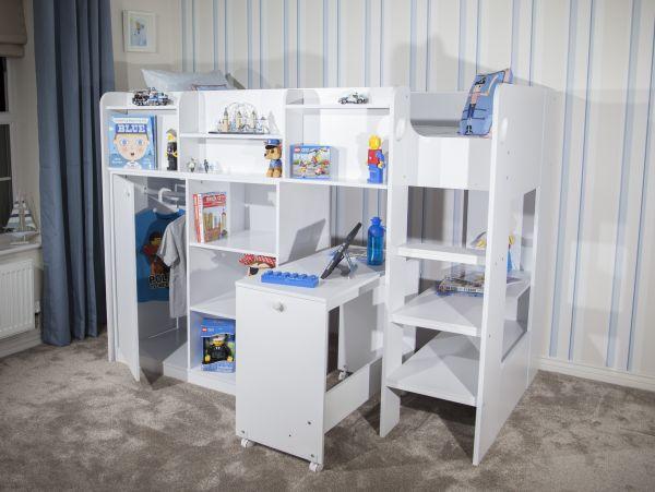 Wizard Junior White High Sleeper Workstation Bed