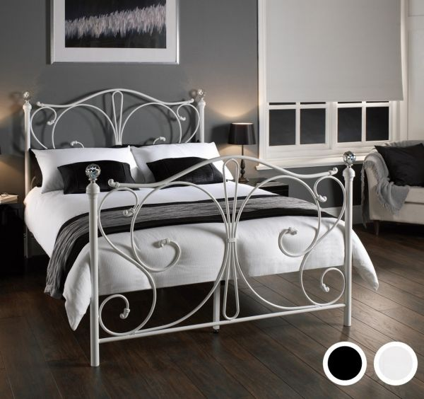 LPD Florence Metal Bed - White or Black - Single, Double or King