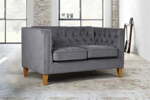 Birlea Florence Grey Velvet 2-Seat Sofa