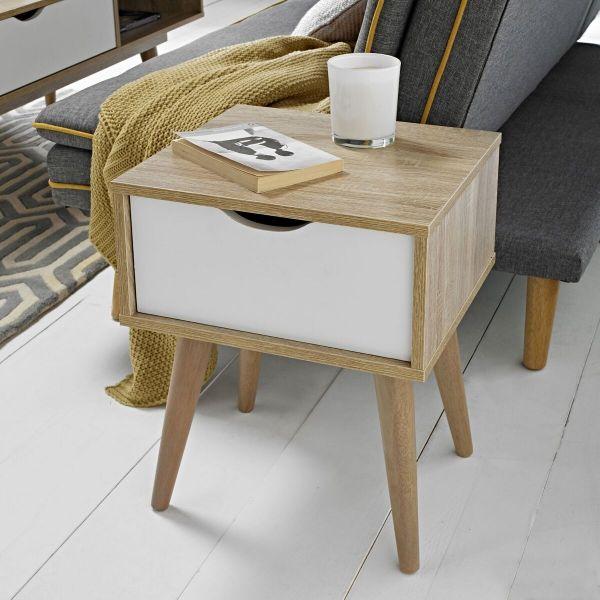 LPD Scandi 1 Drawer Lamp Table - White or Grey