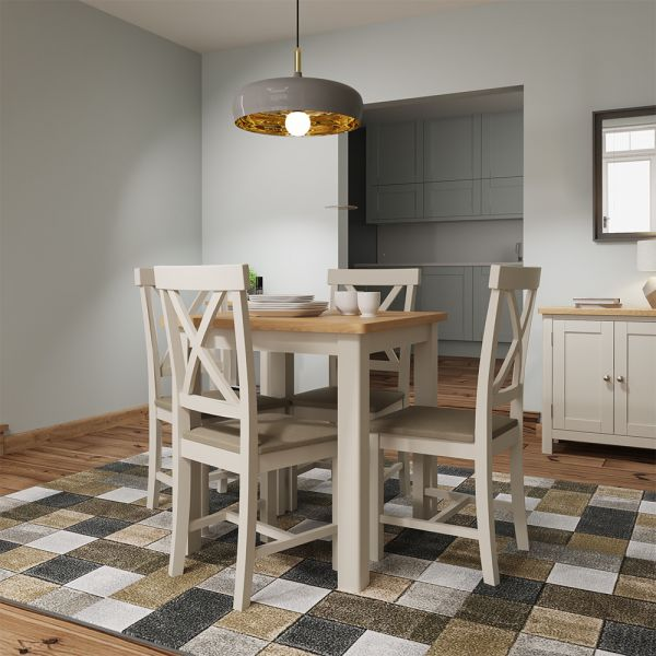 Ether Fixed Top Dining Table  - Dove Grey