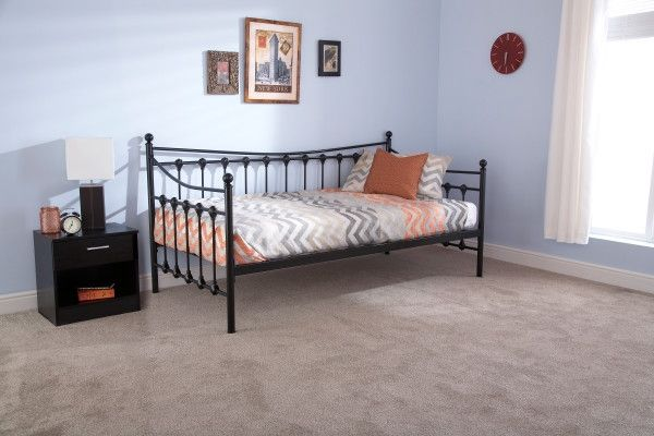 Memphis Metal Day Bed Frame - Black or Ivory