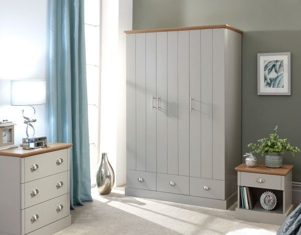Kendal 3-Door 3-Drawer Wardrobe - Grey