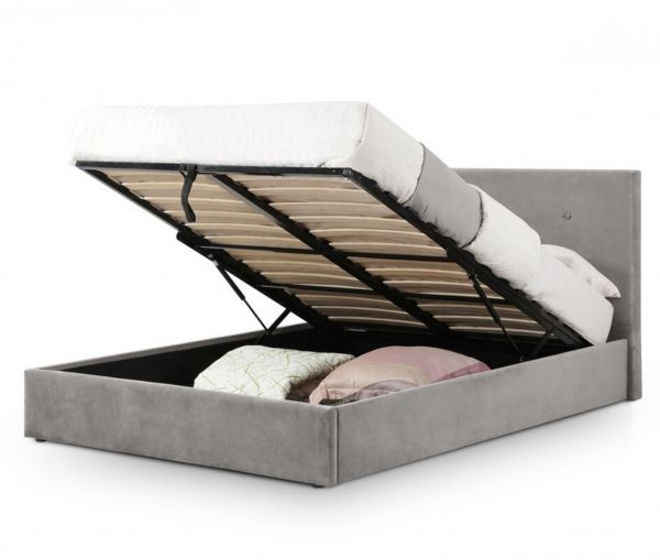 Julian Bowen Shoreditch Grey Velvet Ottoman Storage Bed
