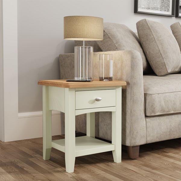 Luxury 1 Drawer Lamp Table - White