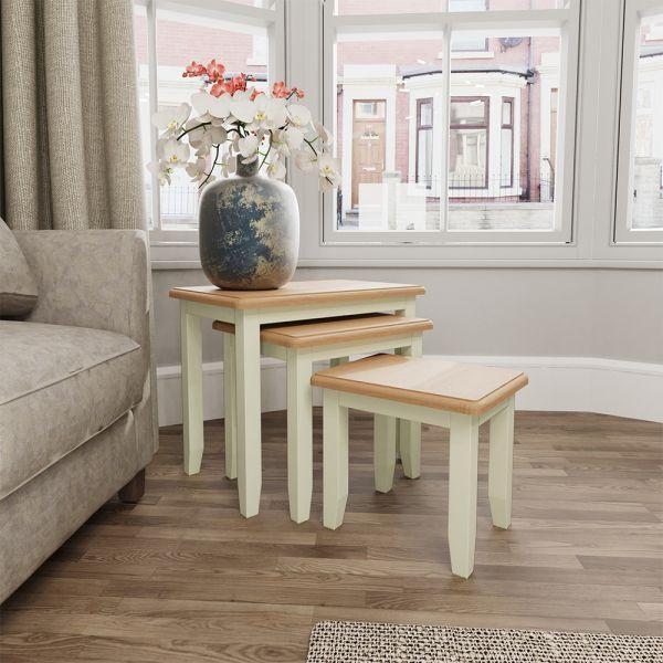 Luxury Nest of 3 Tables - White