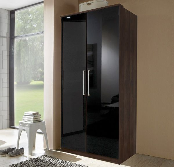 Gamma 2 Door Wardrobe - Walnut and Black Gloss